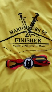 Hardmoors 55 Finisher t-shirt and medal