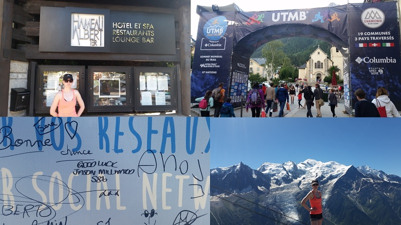 Clockwise from top left: Hameau Albert Spa, Start and finsih, Good luck message from Victoria, Mont Blanc from Brevant