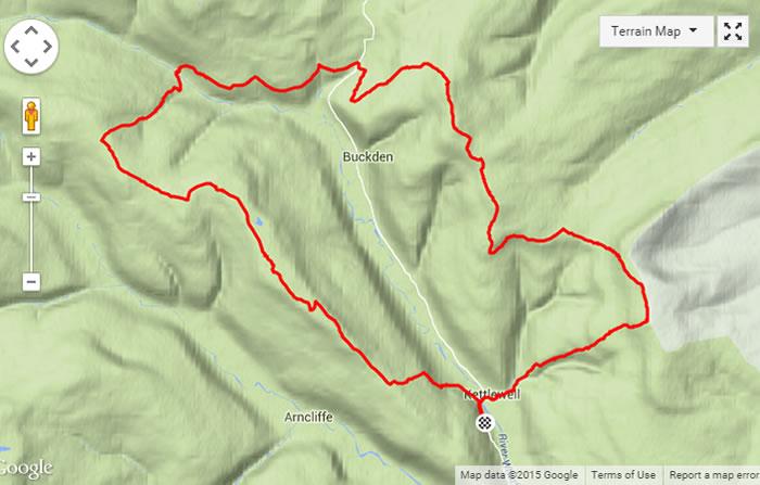 UWFRA Wharfedale Three Peaks Challenge Route