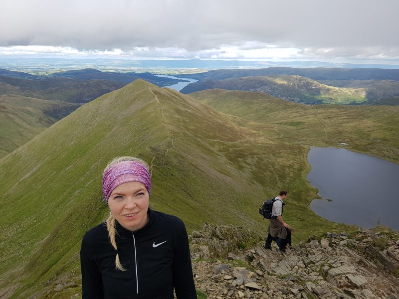 Swirral Edge, Catstycam, Red Tarn and Ullswater in the background